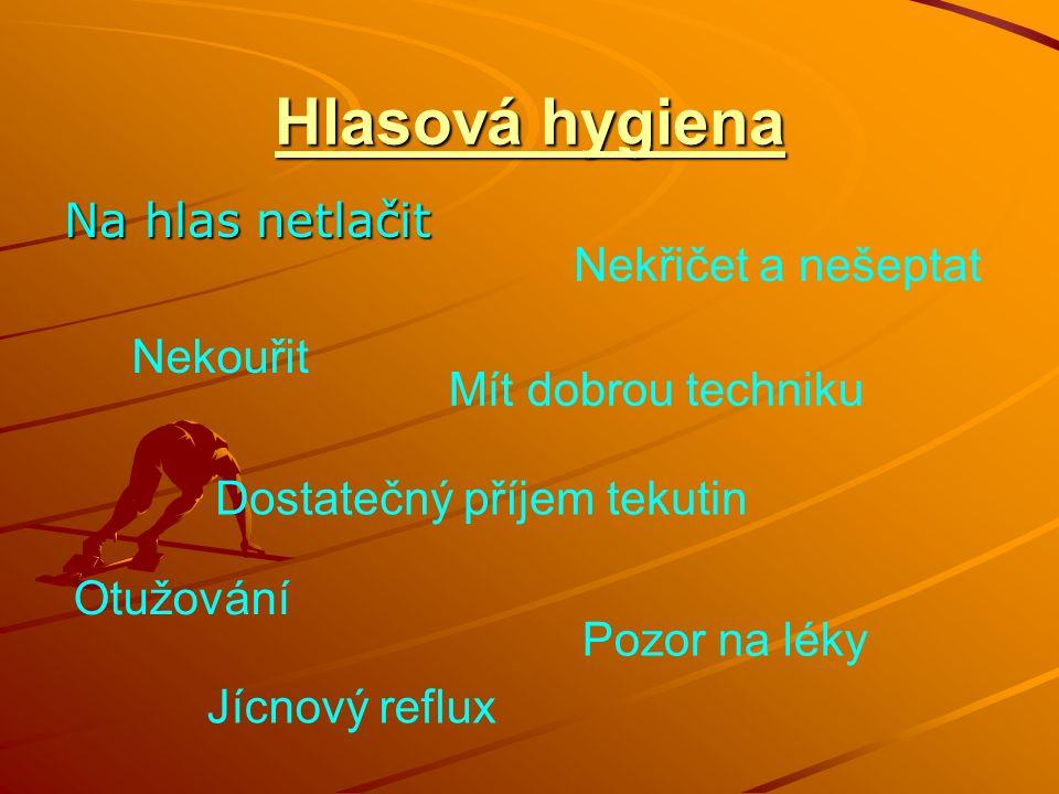 Hlasová hygiena Na hlas netlačit Nekouřit Mít dobrou techniku Dostatečný příjem tekutin Pozor na léky Nekřičet a nešeptat Otužování Jícnový reflux