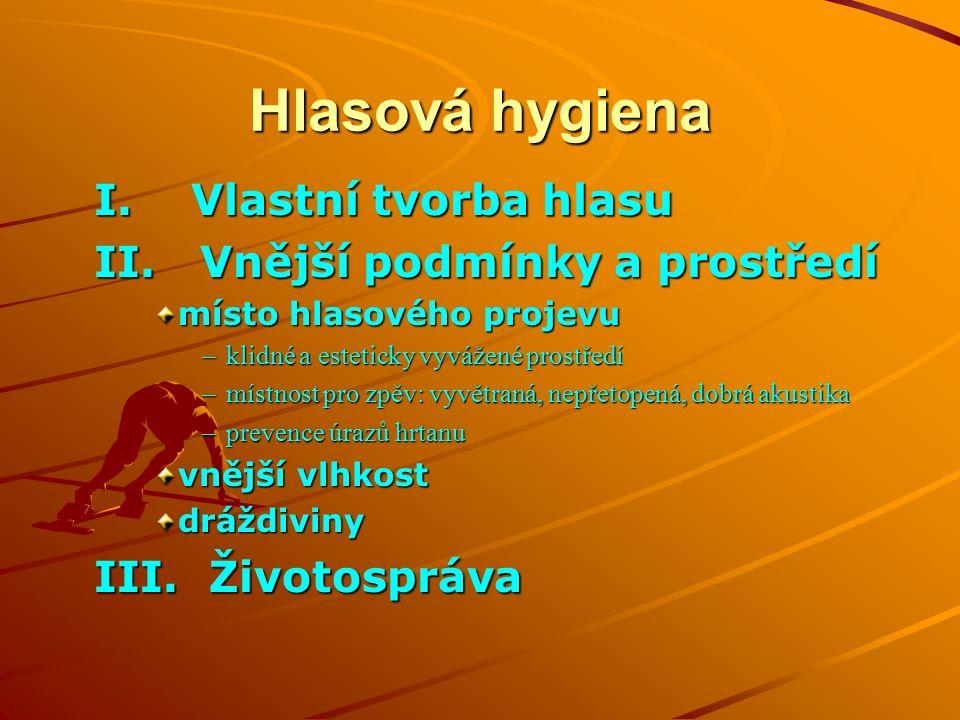 Hlasová hygiena I. Vlastní tvorba hlasu II.