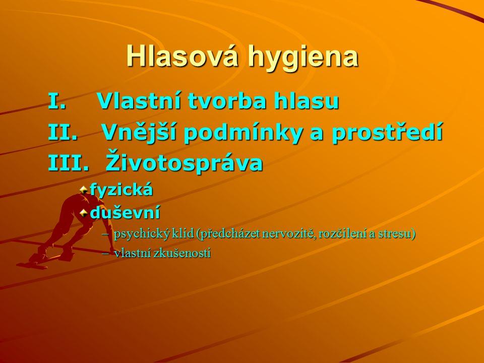 Hlasová hygiena I. Vlastní tvorba hlasu II. Vnější podmínky a prostředí III.