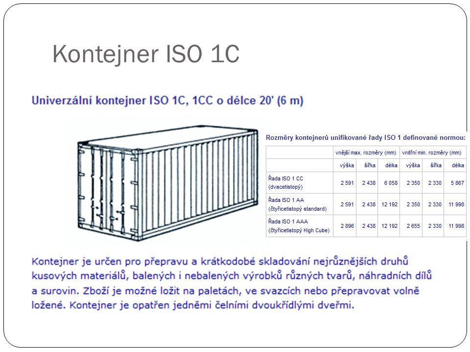 ZPŮSOB PLNĚNÍ KONTEJNERU ISO 1C, 1CC A) paletami EUR - 800 x 1.200 mm Po č et palet celkem: 11 palet v jedné vrstv ě 22 palet ve dvou vrstvách Využití plochy kontejneru: 78,5 % B) paletami 1.000 x 1.200 mm Po č et palet celkem: 10 palet v jedné vrstv ě 20 palet ve dvou vrstvách Využití plochy kontejneru: 88,8 %
