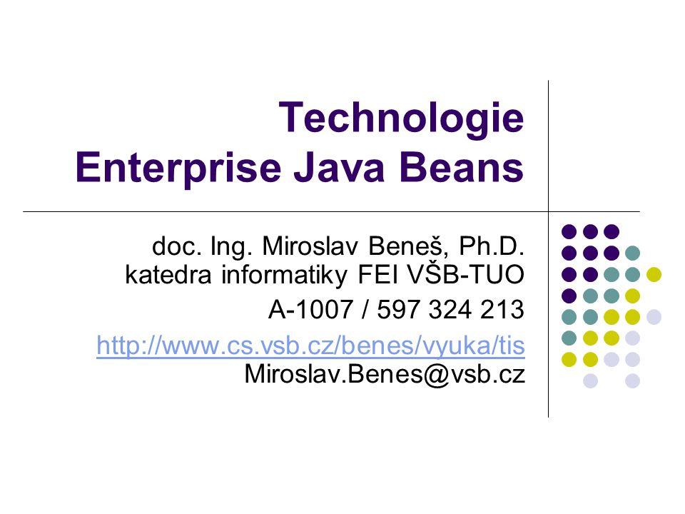 Enterprise Java Beans22 Příklad – rozhraní komponenty // Scitacka.java import java.rmi.RemoteException; import javax.ejb.*; public interface Scitacka extends EJBObject { public int secti(int a, int b) throws RemoteException; }