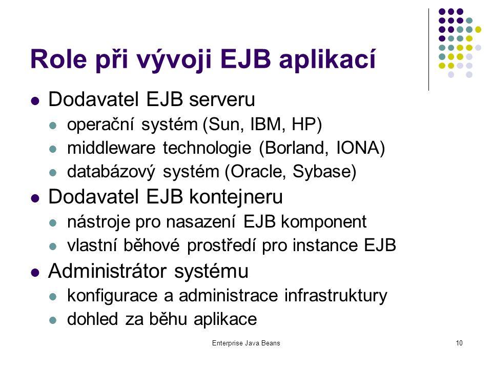 Enterprise Java Beans10 Role při vývoji EJB aplikací Dodavatel EJB serveru operační systém (Sun, IBM, HP) middleware technologie (Borland, IONA) databázový systém (Oracle, Sybase) Dodavatel EJB kontejneru nástroje pro nasazení EJB komponent vlastní běhové prostředí pro instance EJB Administrátor systému konfigurace a administrace infrastruktury dohled za běhu aplikace