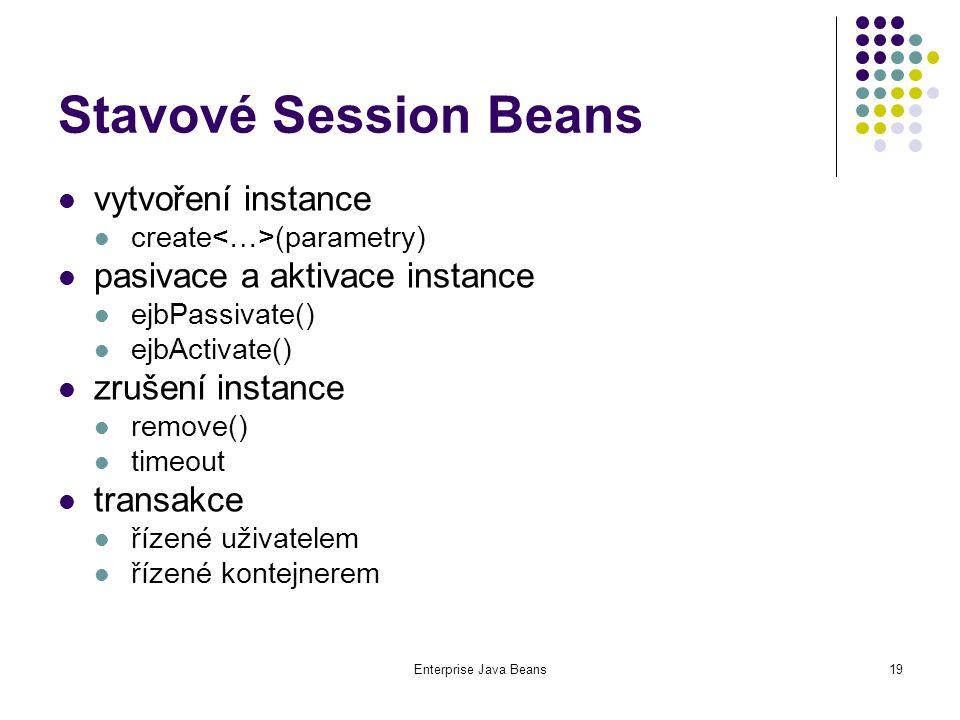 Enterprise Java Beans19 Stavové Session Beans vytvoření instance create (parametry) pasivace a aktivace instance ejbPassivate() ejbActivate() zrušení instance remove() timeout transakce řízené uživatelem řízené kontejnerem