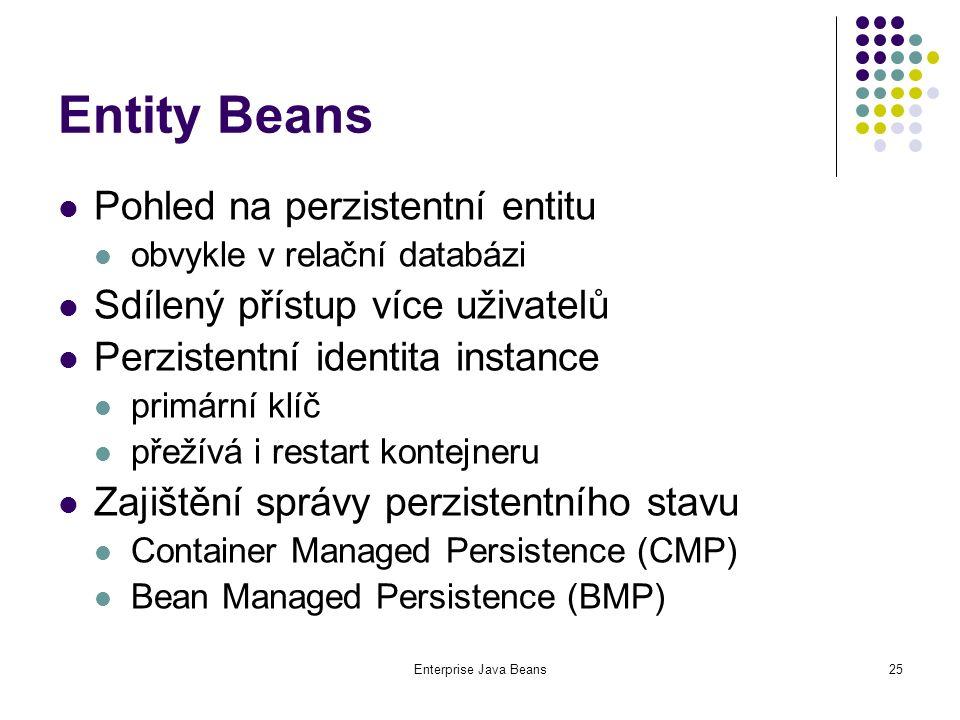 Enterprise Java Beans25 Entity Beans Pohled na perzistentní entitu obvykle v relační databázi Sdílený přístup více uživatelů Perzistentní identita instance primární klíč přežívá i restart kontejneru Zajištění správy perzistentního stavu Container Managed Persistence (CMP) Bean Managed Persistence (BMP)