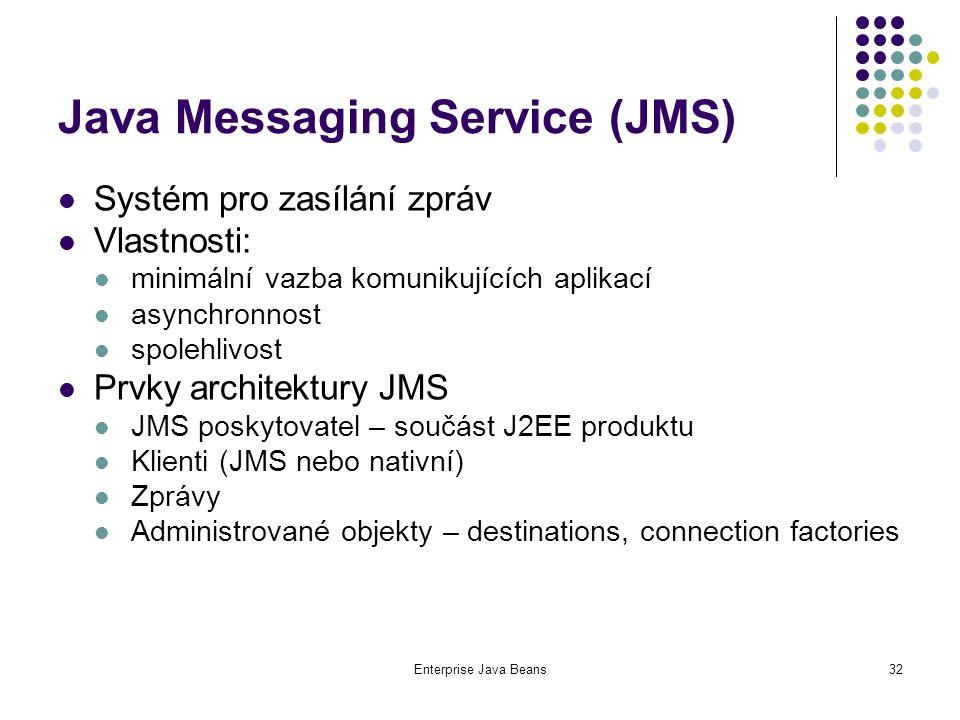 Enterprise Java Beans32 Java Messaging Service (JMS) Systém pro zasílání zpráv Vlastnosti: minimální vazba komunikujících aplikací asynchronnost spolehlivost Prvky architektury JMS JMS poskytovatel – součást J2EE produktu Klienti (JMS nebo nativní) Zprávy Administrované objekty – destinations, connection factories