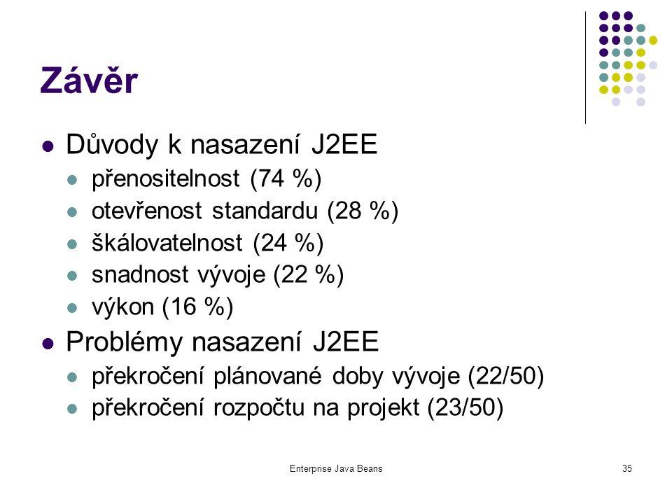 Enterprise Java Beans35 Závěr Důvody k nasazení J2EE přenositelnost (74 %) otevřenost standardu (28 %) škálovatelnost (24 %) snadnost vývoje (22 %) výkon (16 %) Problémy nasazení J2EE překročení plánované doby vývoje (22/50) překročení rozpočtu na projekt (23/50)