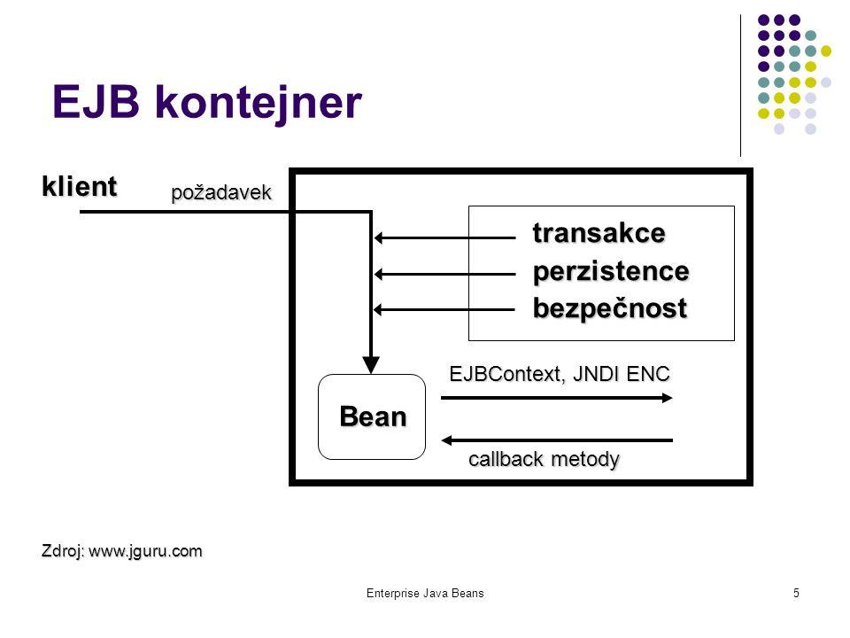 Enterprise Java Beans16 Kontrakt mezi komponentami a kontejnerem EJB Třída komponenty: implementuje business metody, kontejner na ně deleguje volání od klienta; implementuje metody pro vytváření a rušení, případně i vyhledání komponent (ejbCreate, ejbFind..., ejbRemove); implementuje callback metody z rozhraní javax.ejb.SessionBean javax.ejb.EntityBean javax.ejb.MessageDrivenBean
