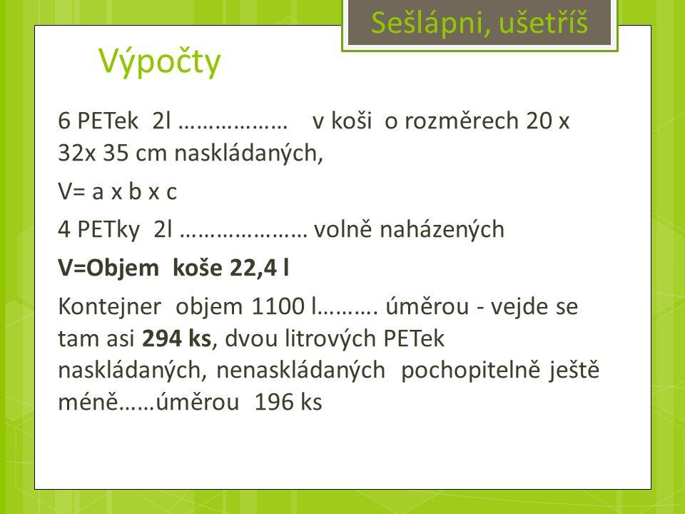 Výpočty 6 PETek 2l ……………… v koši o rozměrech 20 x 32x 35 cm naskládaných, V= a x b x c 4 PETky 2l ………………… volně naházených V=Objem koše 22,4 l Kontejner objem 1100 l……….