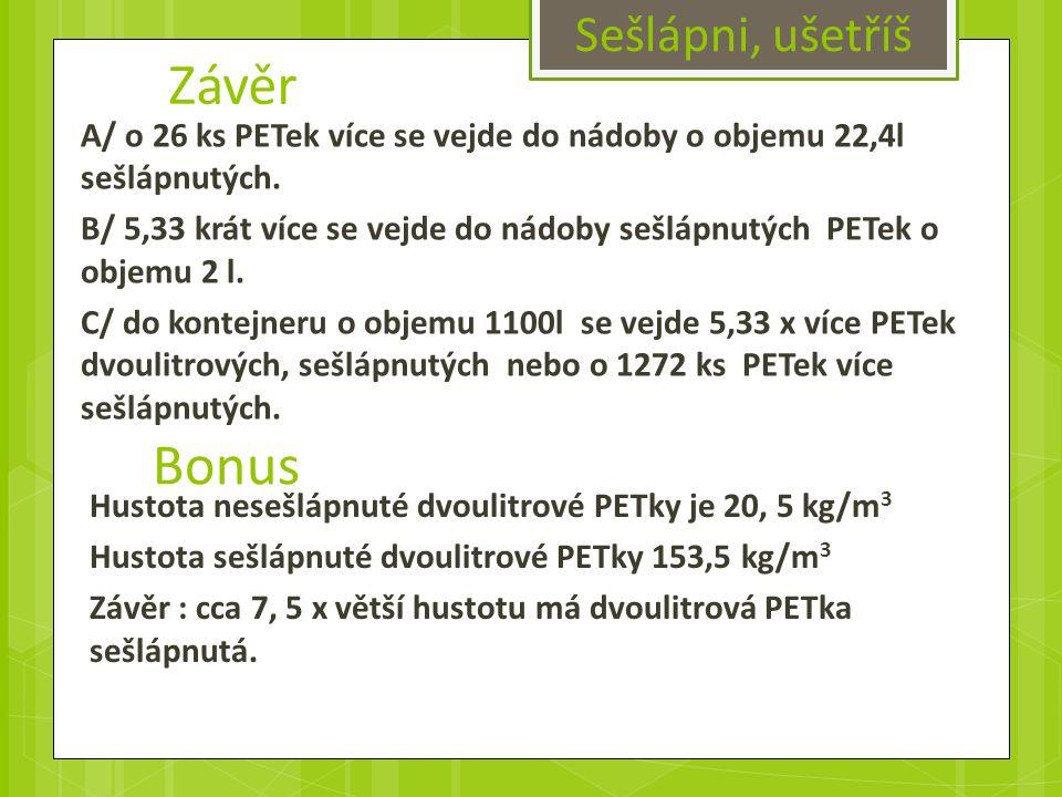 Závěr A/ o 26 ks PETek více se vejde do nádoby o objemu 22,4l sešlápnutých.