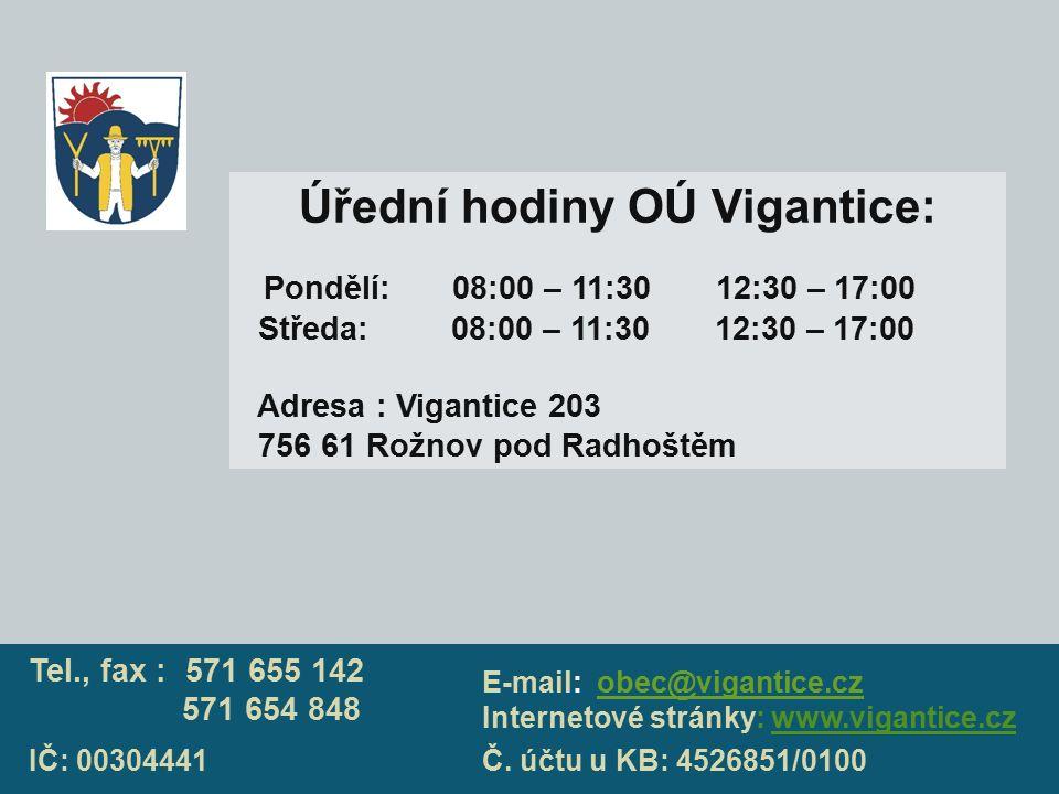 Úřední hodiny OÚ Vigantice: Pondělí: 08:00 – 11:30 12:30 – 17:00 Středa: 08:00 – 11:30 12:30 – 17:00 Adresa : Vigantice 203 756 61 Rožnov pod Radhoště