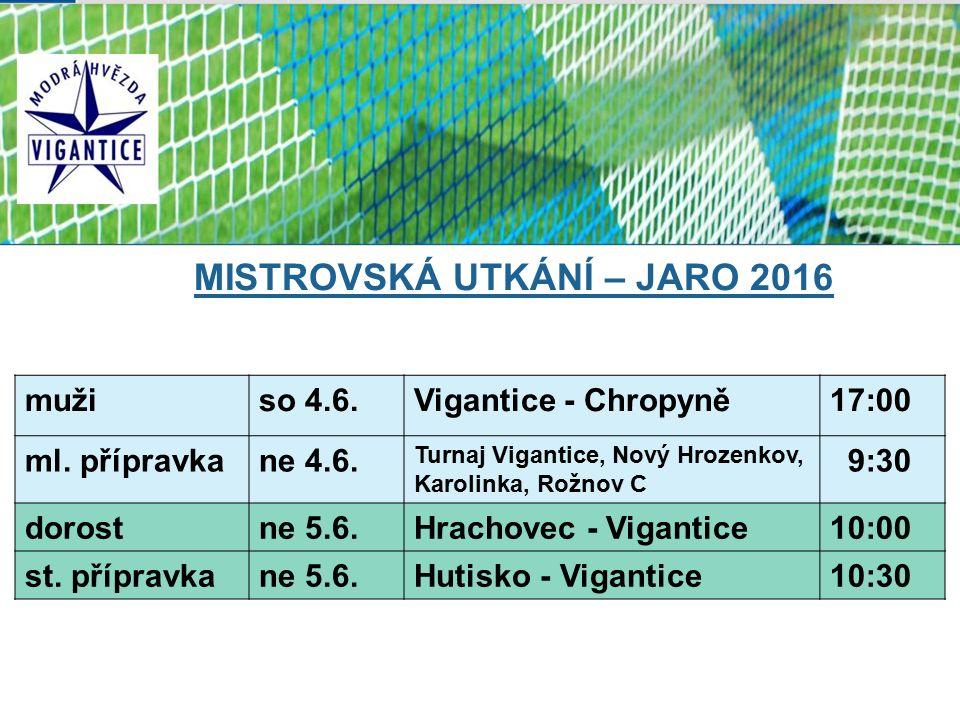 MISTROVSKÁ UTKÁNÍ – JARO 2016 mužiso 4.6.Vigantice - Chropyně17:00 ml.