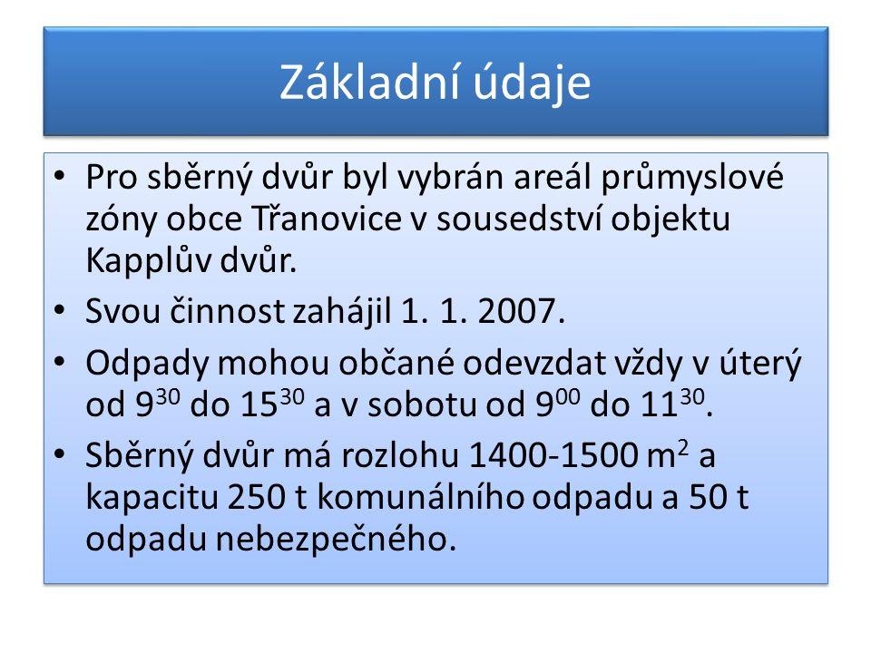 Základní údaje Pro sběrný dvůr byl vybrán areál průmyslové zóny obce Třanovice v sousedství objektu Kapplův dvůr.