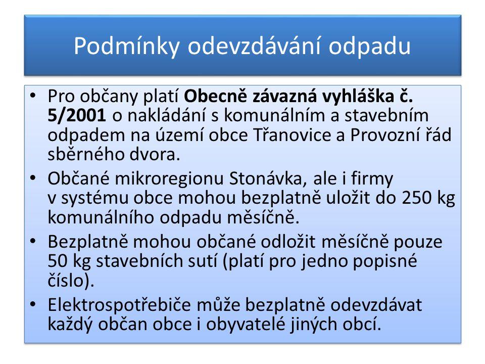 Podmínky odevzdávání odpadu Pro občany platí Obecně závazná vyhláška č.