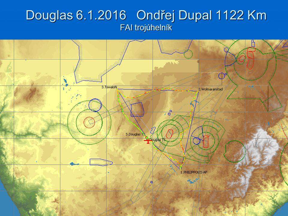 Douglas 6.1.2016 Ondřej Dupal 1122 Km FAI trojúhelník