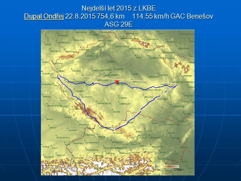 Nejdelší let 2015 z LKBE Dupal Ondřej 22.8.2015 754,6 km 114.55 km/h GAC Benešov ASG 29E Dupal Ondřej Dupal Ondřej