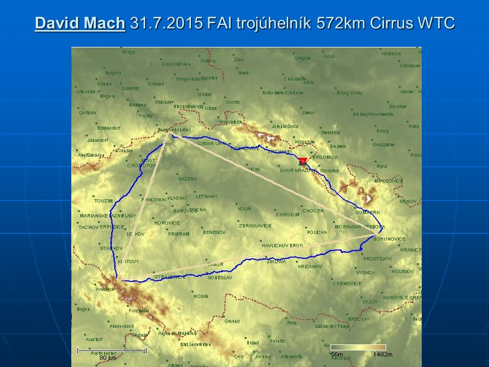 David Mach 31.7.2015 FAI trojúhelník 572km Cirrus WTC