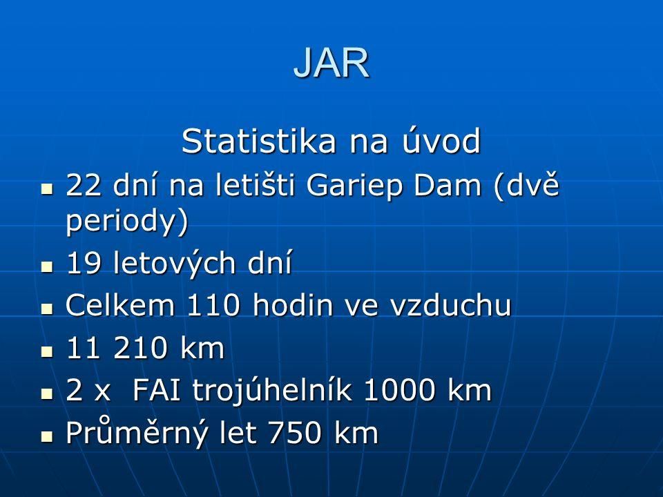 JAR Statistika na úvod 22 dní na letišti Gariep Dam (dvě periody) 22 dní na letišti Gariep Dam (dvě periody) 19 letových dní 19 letových dní Celkem 110 hodin ve vzduchu Celkem 110 hodin ve vzduchu 11 210 km 11 210 km 2 x FAI trojúhelník 1000 km 2 x FAI trojúhelník 1000 km Průměrný let 750 km Průměrný let 750 km