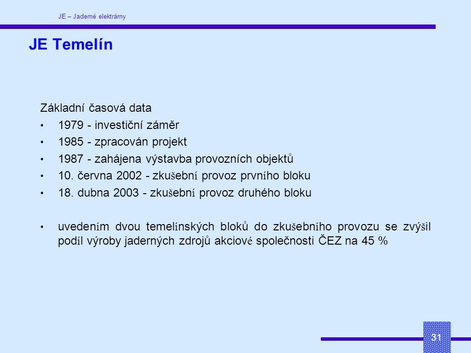 JE – Jaderné elektrárny 31 JE Temelín Základní časová data 1979 - investiční záměr 1985 - zpracován projekt 1987 - zahájena výstavba provozních objektů 10.