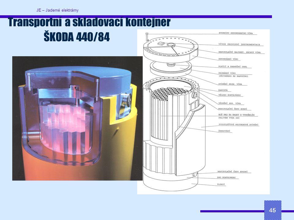 JE – Jaderné elektrárny 45 Transportní a skladovací kontejner ŠKODA 440/84