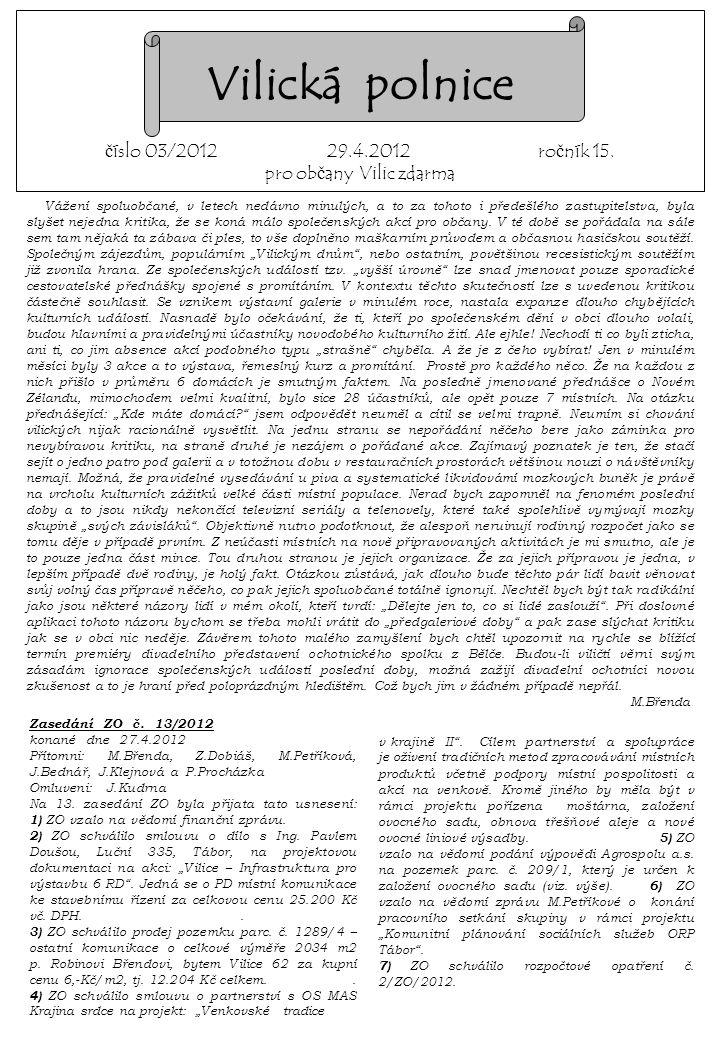 Zasedání ZO č. 13/2012. konané dne 27.4.2012.