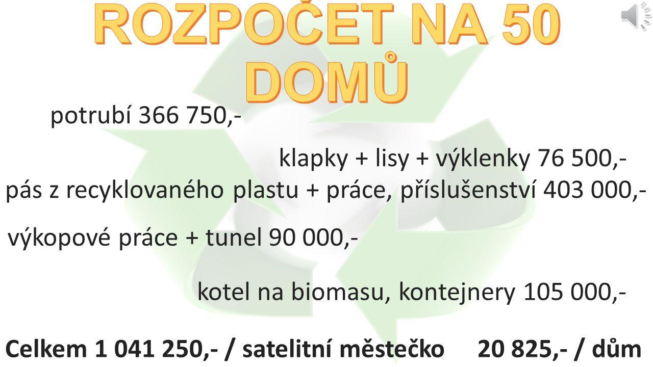potrubí 6 721 500,- klapky + lisy + výklenky 1 912 500,- pás z recyklovaného plastu + práce, příslušenství 6 891 300,- výkopové práce + tunel 1 539 000,- kotel na biomasu, kontejnery 110 000,- Celkem 17 174 300,- / obec 13 794,- / dům