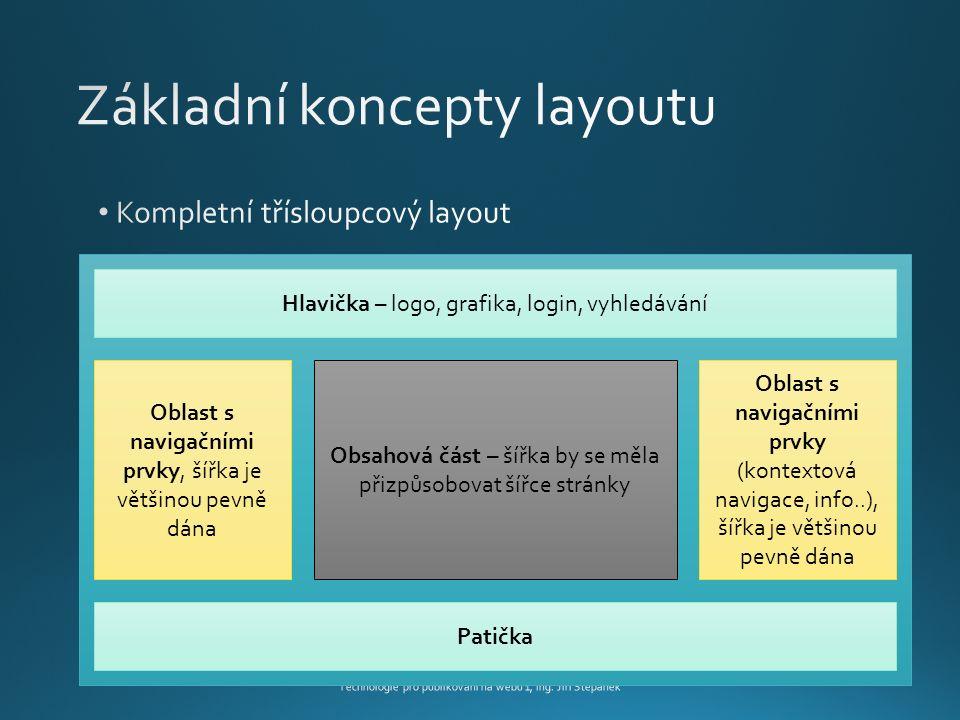 Technologie pro publikování na webu 1, Ing.