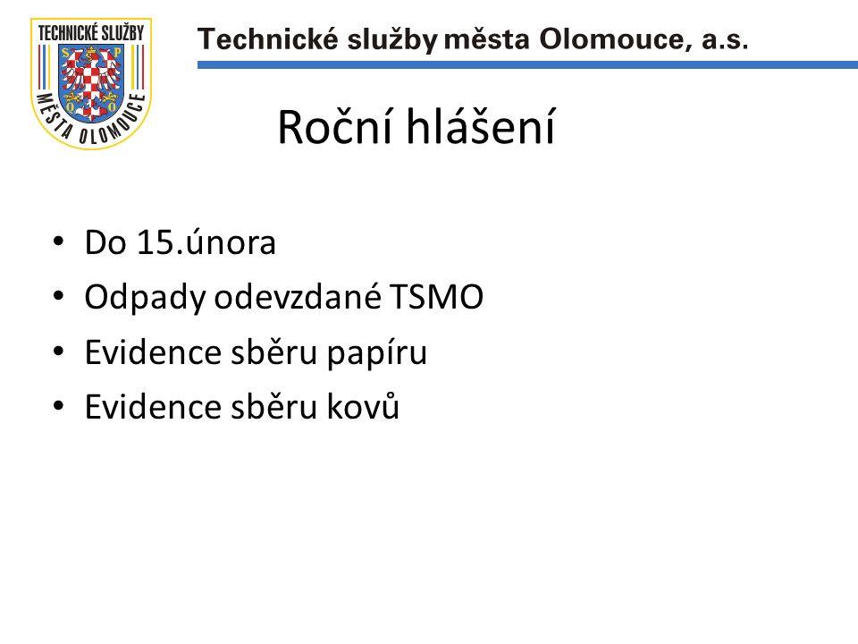 Roční hlášení Do 15.února Odpady odevzdané TSMO Evidence sběru papíru Evidence sběru kovů