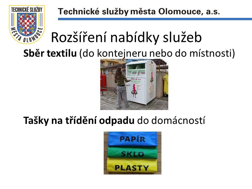 Rozšíření nabídky služeb Sběr textilu (do kontejneru nebo do místnosti) Tašky na třídění odpadu do domácností