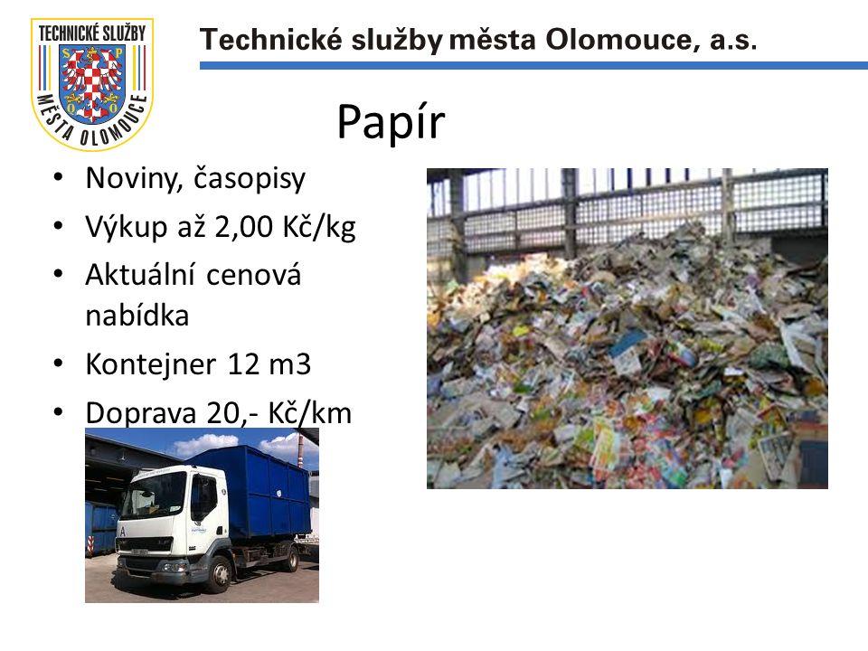 Noviny, časopisy Výkup až 2,00 Kč/kg Aktuální cenová nabídka Kontejner 12 m3 Doprava 20,- Kč/km