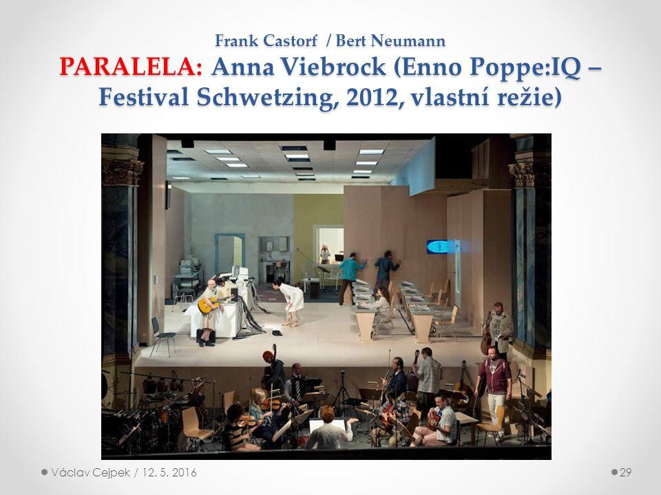 Frank Castorf / Bert Neumann PARALELA: Anna Viebrock (Enno Poppe:IQ – Festival Schwetzing, 2012, vlastní režie) Václav Cejpek / 12.