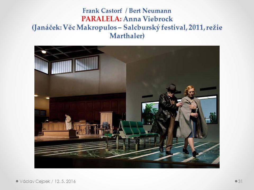 Frank Castorf / Bert Neumann PARALELA: Anna Viebrock (Janáček: Věc Makropulos – Salcburský festival, 2011, režie Marthaler) Václav Cejpek / 12.