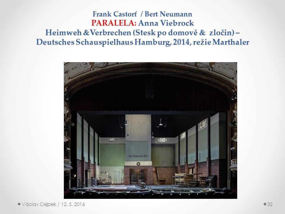 Frank Castorf / Bert Neumann PARALELA: Anna Viebrock Heimweh  Verbrechen (Stesk po domově  zločin) – Deutsches Schauspielhaus Hamburg, 2014, režie Marthaler Václav Cejpek / 12.