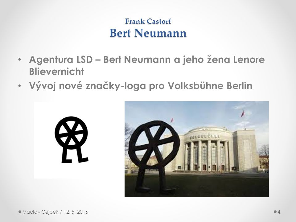 Frank Castorf Bert Neumann Agentura LSD – Bert Neumann a jeho žena Lenore Blievernicht Vývoj nové značky-loga pro Volksbühne Berlin Václav Cejpek / 12.