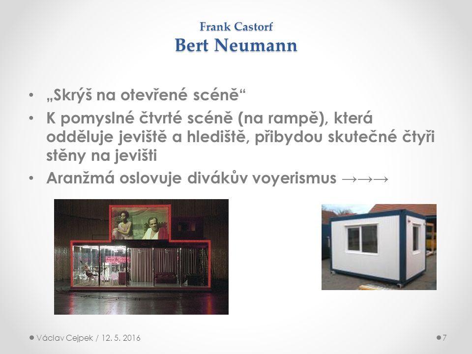 """Frank Castorf Bert Neumann """"Skrýš na otevřené scéně K pomyslné čtvrté scéně (na rampě), která odděluje jeviště a hlediště, přibydou skutečné čtyři stěny na jevišti Aranžmá oslovuje divákův voyerismus →→→ Václav Cejpek / 12."""