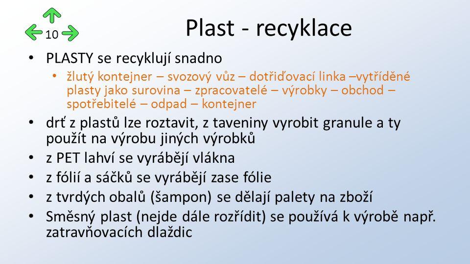 PLASTY se recyklují snadno žlutý kontejner – svozový vůz – dotřiďovací linka –vytříděné plasty jako surovina – zpracovatelé – výrobky – obchod – spotřebitelé – odpad – kontejner drť z plastů lze roztavit, z taveniny vyrobit granule a ty použít na výrobu jiných výrobků z PET lahví se vyrábějí vlákna z fólií a sáčků se vyrábějí zase fólie z tvrdých obalů (šampon) se dělají palety na zboží Směsný plast (nejde dále rozřídit) se používá k výrobě např.