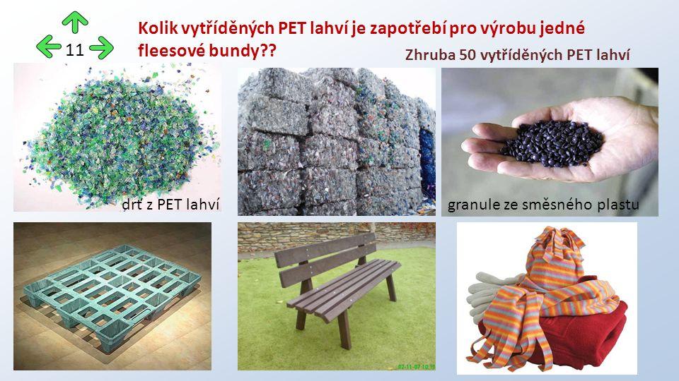 Kolik vytříděných PET lahví je zapotřebí pro výrobu jedné fleesové bundy .