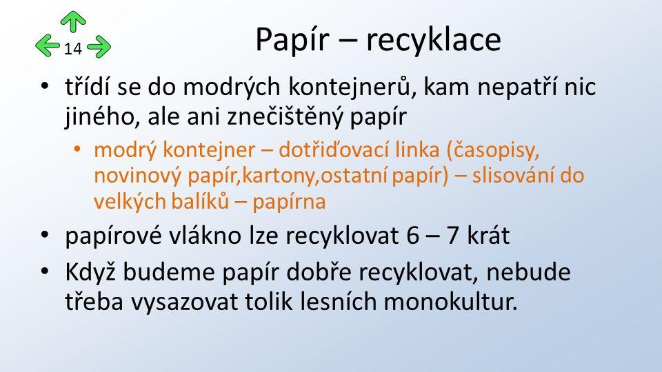 třídí se do modrých kontejnerů, kam nepatří nic jiného, ale ani znečištěný papír modrý kontejner – dotřiďovací linka (časopisy, novinový papír,kartony,ostatní papír) – slisování do velkých balíků – papírna papírové vlákno lze recyklovat 6 – 7 krát Když budeme papír dobře recyklovat, nebude třeba vysazovat tolik lesních monokultur.