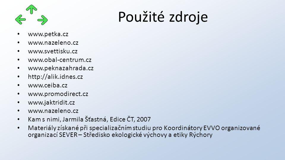 www.petka.cz www.nazeleno.cz www.svettisku.cz www.obal-centrum.cz www.peknazahrada.cz http://alik.idnes.cz www.ceiba.cz www.promodirect.cz www.jaktridit.cz www.nazeleno.cz Kam s nimi, Jarmila Šťastná, Edice ČT, 2007 Materiály získané při specializačním studiu pro Koordinátory EVVO organizované organizací SEVER – Středisko ekologické výchovy a etiky Rýchory Použité zdroje