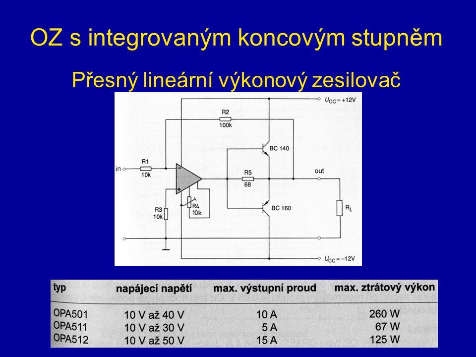 OZ s integrovaným koncovým stupněm Přesný lineární výkonový zesilovač