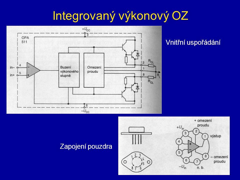 Integrovaný výkonový OZ Vnitřní uspořádání Zapojení pouzdra