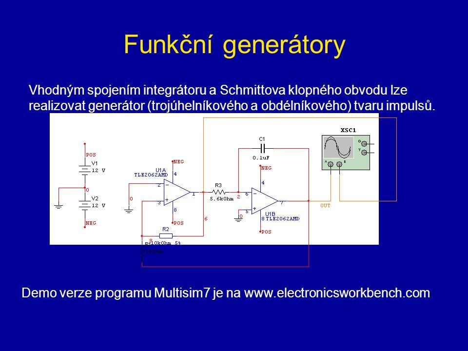 Funkční generátory Vhodným spojením integrátoru a Schmittova klopného obvodu lze realizovat generátor (trojúhelníkového a obdélníkového) tvaru impulsů.