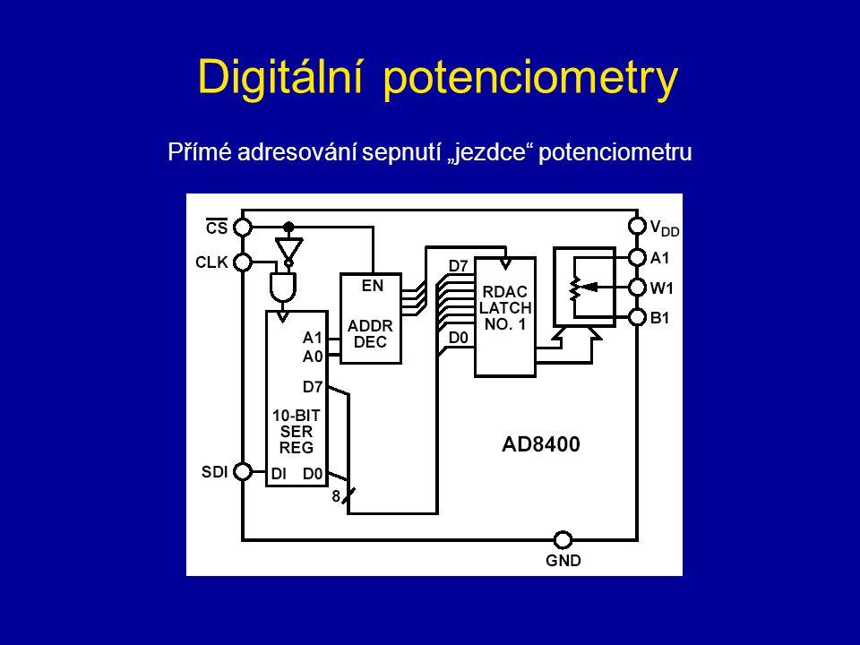 """Digitální potenciometry Přímé adresování sepnutí """"jezdce potenciometru"""