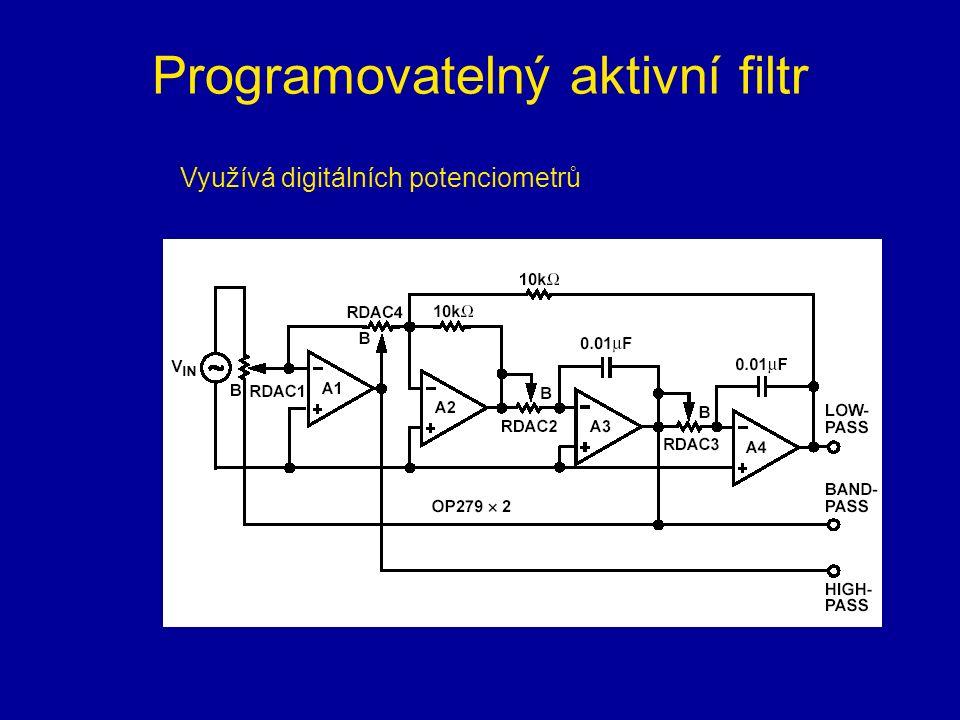 Programovatelný aktivní filtr Využívá digitálních potenciometrů