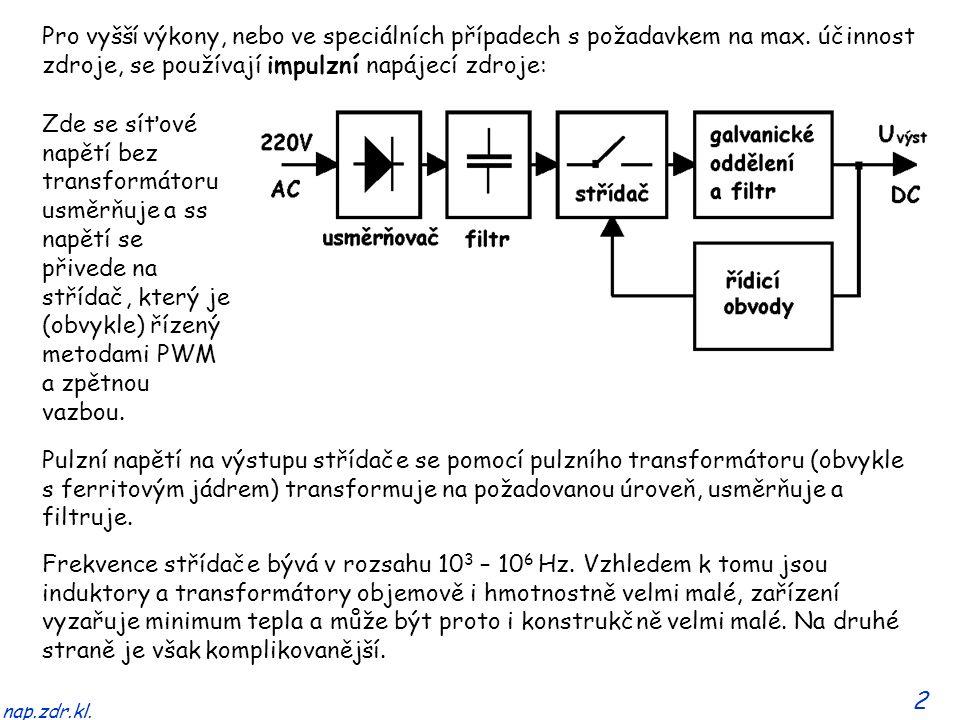 2 nap.zdr.kl. Frekvence střídače bývá v rozsahu 10 3 – 10 6 Hz. Vzhledem k tomu jsou induktory a transformátory objemově i hmotnostně velmi malé, zaří