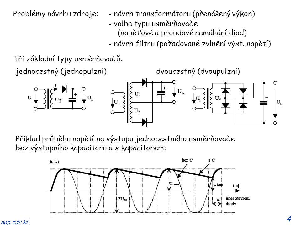 4 nap.zdr.kl. Tři základní typy usměrňovačů: jednocestný (jednopulzní)dvoucestný (dvoupulzní) Příklad průběhu napětí na výstupu jednocestného usměrňov