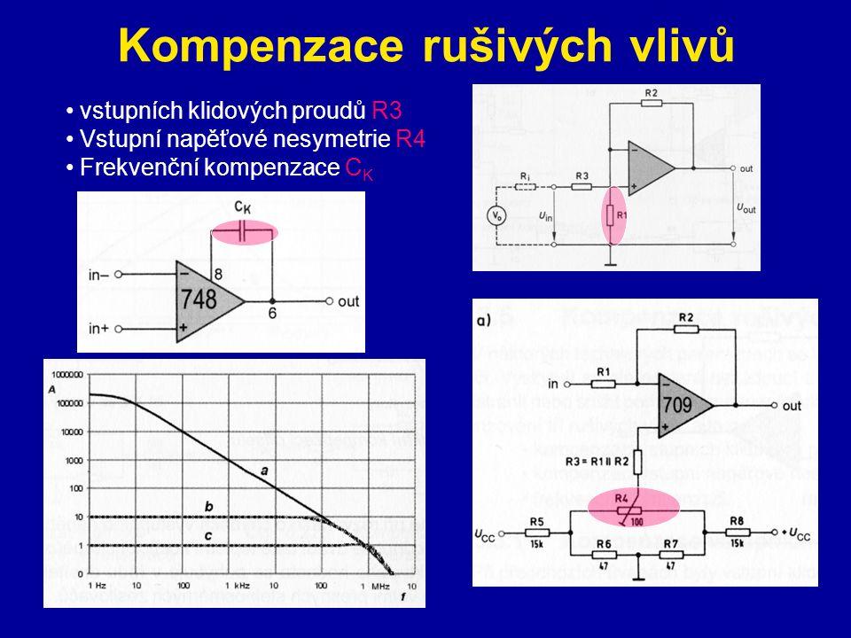 Kompenzace rušivých vlivů vstupních klidových proudů R3 Vstupní napěťové nesymetrie R4 Frekvenční kompenzace C K