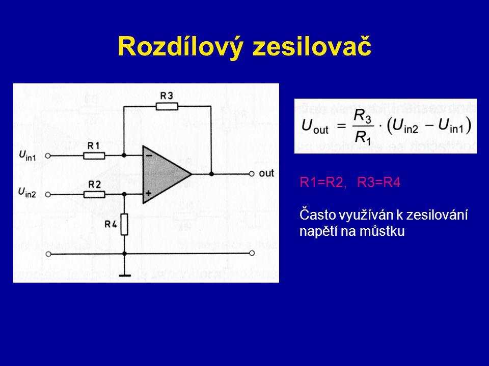 Rozdílový zesilovač R1=R2, R3=R4 Často využíván k zesilování napětí na můstku