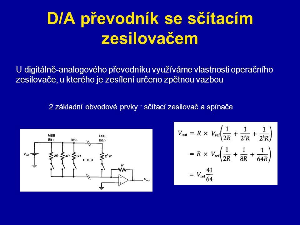 D/A převodník se sčítacím zesilovačem 2 základní obvodové prvky : sčítací zesilovač a spínače U digitálně-analogového převodníku využíváme vlastnosti operačního zesilovače, u kterého je zesílení určeno zpětnou vazbou