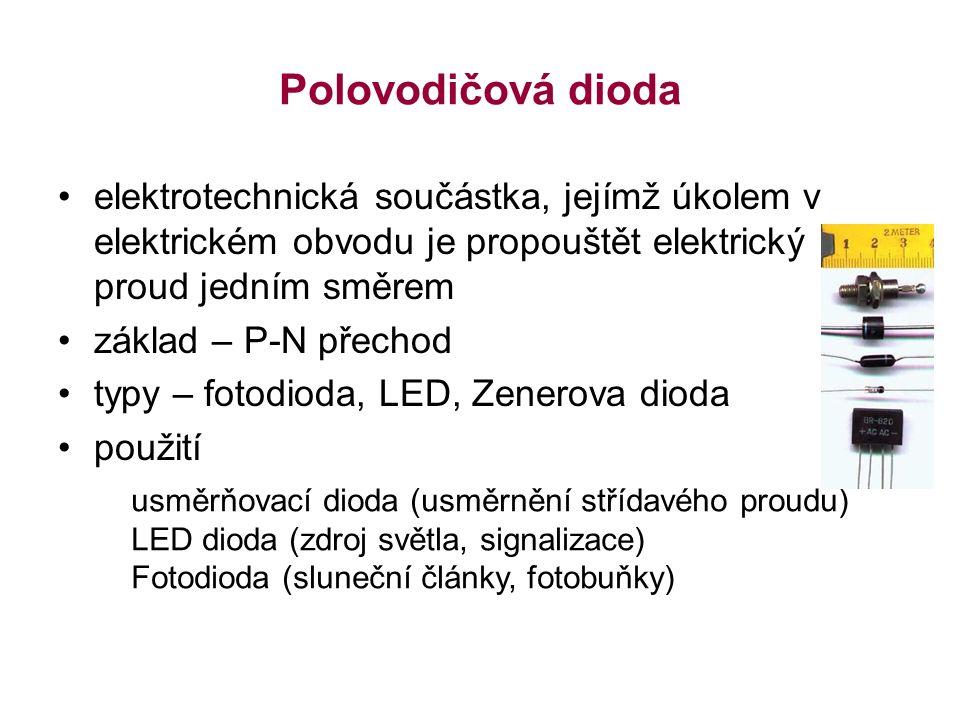 Polovodičová dioda elektrotechnická součástka, jejímž úkolem v elektrickém obvodu je propouštět elektrický proud jedním směrem základ – P-N přechod typy – fotodioda, LED, Zenerova dioda použití usměrňovací dioda (usměrnění střídavého proudu) LED dioda (zdroj světla, signalizace) Fotodioda (sluneční články, fotobuňky)