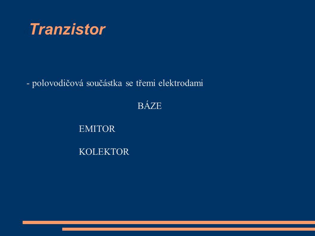 Tranzistor - polovodičová součástka se třemi elektrodami BÁZE EMITOR KOLEKTOR
